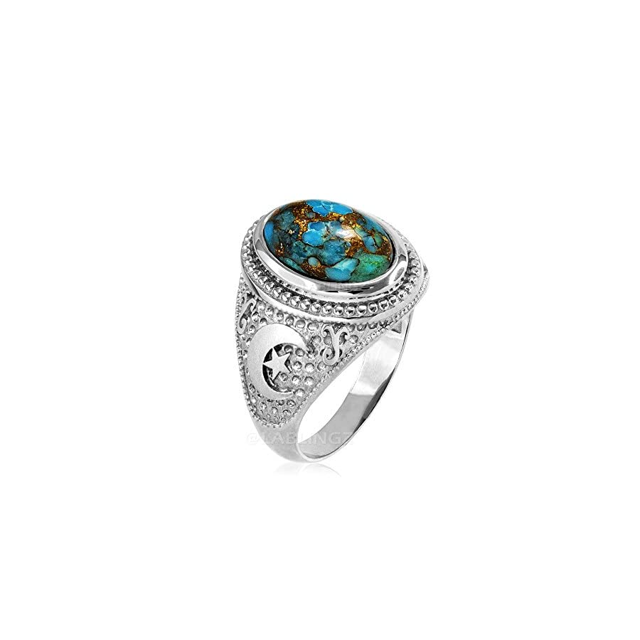 Sterling Silver Islamic Crescent Moon Blue Copper Turquoise Ring