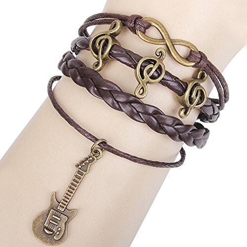 Engravable Link Bracelet (Winter's Secret Happy Note Guitar Antique Accessories Multilayer Weave Brown Leather Lucky 8 Bracelet)