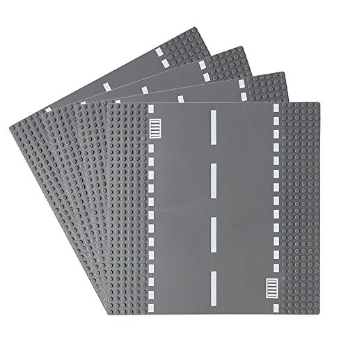 Feleph 4 PC City Straight/Curve/T-Junction/Crossroad Road Base Plate 8802 Building Kit 10