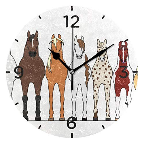 senya Wall Clock Silent 9.5 Inch Battery Operated Non Ticking Various Horses Lining Up Round Decorative Acrylic Quiet Clocks for Bedroom Office School Home by domook
