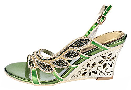 Shaped Women's Honeystore Leaf Rhinestone Handmade Sandals Wedge wExCTqxd
