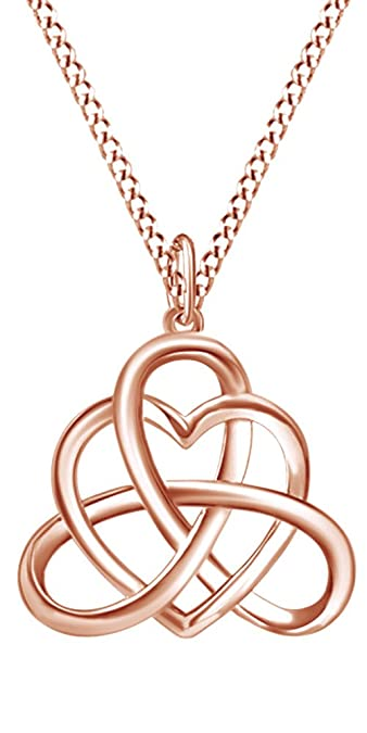 5bb2c99679b802 Amazon.com: Jewel Zone US Irish Heart Celtic Vintage Pendant Necklace 14k  Rose Gold Over Sterling Silver: Jewelry
