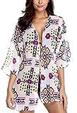 Anwell Womens Bohemia Beach Cover up Short Kimono Kaftan Tunic Bikini Dress