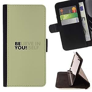 BullDog Case - FOR/HTC One M7 / - / BELIEVE IN YOURSELF /- Monedero de cuero de la PU Llevar cubierta de la caja con el ID Credit Card Slots Flip funda de cuer