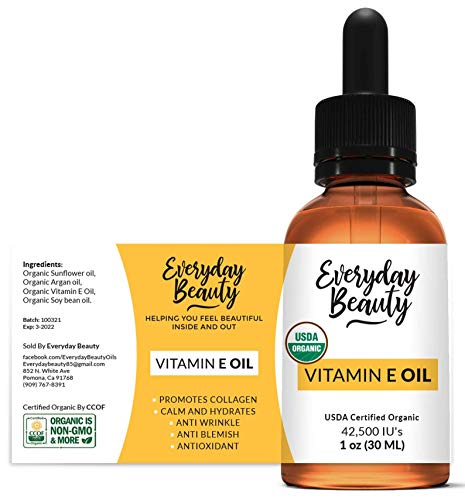 Organic Vitamin E Oil - USDA Certified 100% All Natural Plant Based 1oz - Light and Unscented Great for Scars After Surgery - For Face, Skin and Nails - Reduce Wrinkles, Anti Aging, Lighten Dark Spots