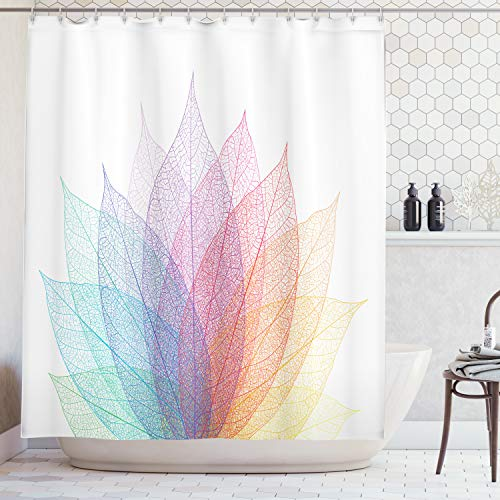 Ambesonne Abstract Home Decor Shower Curtain Set, Leaf Abstract Artwork Four Season Flora Delicate Transparent Nature Theme, Bathroom Accessories, 84 inches Extralong, Turquoise Purple