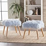 Cheap Hudson Faux Fur Ottoman (Set of 2) (Light Blue)