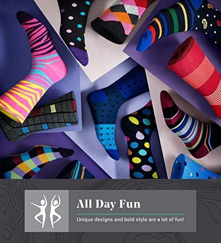 Marino Men Dress Socks  Colorful Funky Socks for Men  Cotton Fashion Patterned Socks  12 Pack