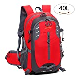 Yanqueens Men Travel Daypack Waterproof Hiking Backpack 40L Lightweight for Outdoor Camping Cycling Red Review