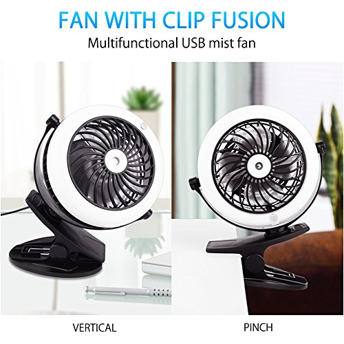 2 in 1 usb mini desk fan misting clip on battery operated cooling quiet travel ebay. Black Bedroom Furniture Sets. Home Design Ideas