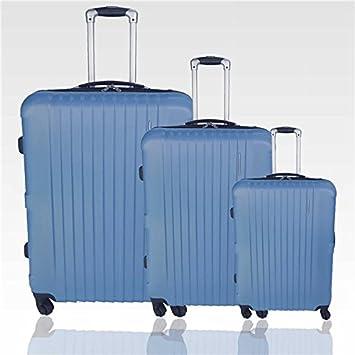 Travel Land - Juego de 3 maletas ligeras y gruesos Trolley - Carcasa rígida ABS 4 ruedas 360 - azul: Amazon.es: Equipaje