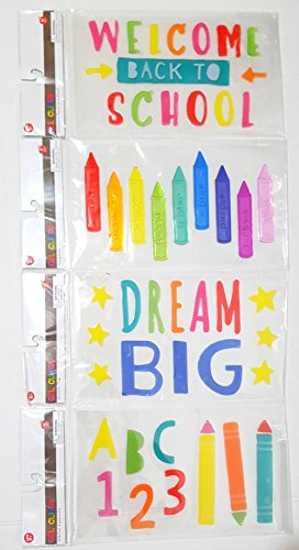 """""""Back to School"""" Window Gel Cling Set, Multi-colored with 54 Letters/pieces"""