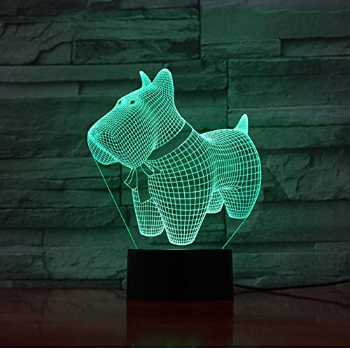Dekor Lampen Cartoon Hund 3D Lampe Stimmung Nachtlicht LED Birne Multi-Color-Flash FadeBedside Weihnachten…