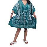 Womens Coverup Kaftan Dress Blue Elephant Print Beach Caftan Top One Size