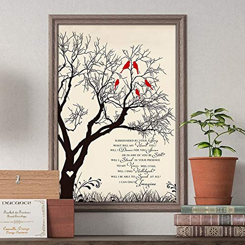 I Can Only Imagine Tree And Birds Lyrics Song Poster Gift Jesus Lovers Christian Poster Customized Poster Size Width x Height (Inch x Inch) 12 x 18   16 x 24   24 x 36 -