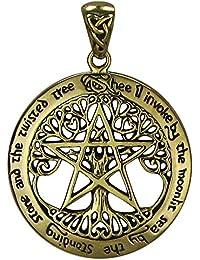 Bronze Extra Large Cut Out Tree Pentacle Pentagram Pendant