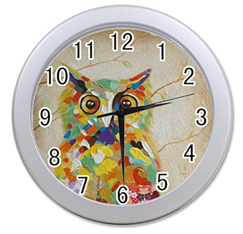 Bernie Gresham Colorful Owl Wall Clock black Unique  Wall Clock