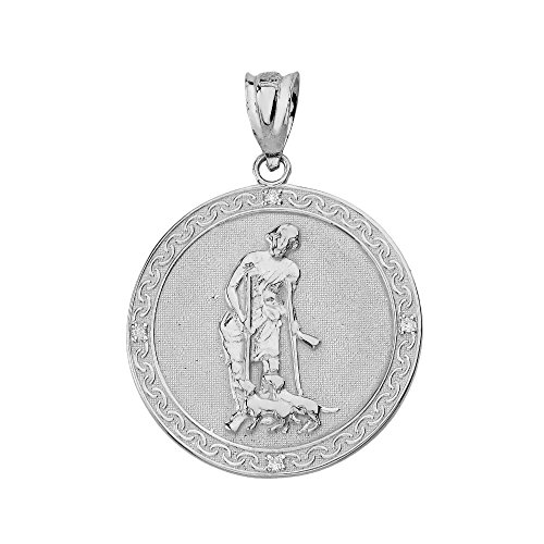Gemstone Medallion Style Pendant - 925 Sterling Silver Saint Lazarus Pray For Us Medallion CZ Charm Pendant (1