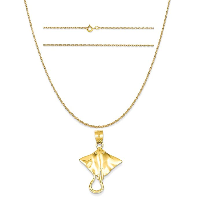 K/&C 14k Yellow Gold 21 in Heart Charm on a 14K Yellow Gold Carded Rope Chain Necklace