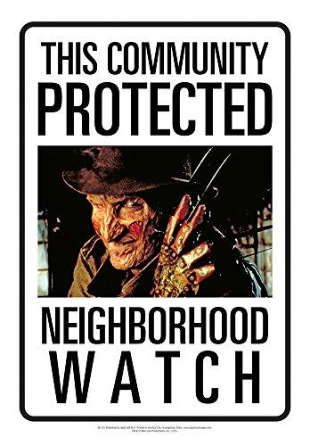 Aquarius Group Nightmare on Elm St Freddy Neighborhood Watch Tin Sign]()
