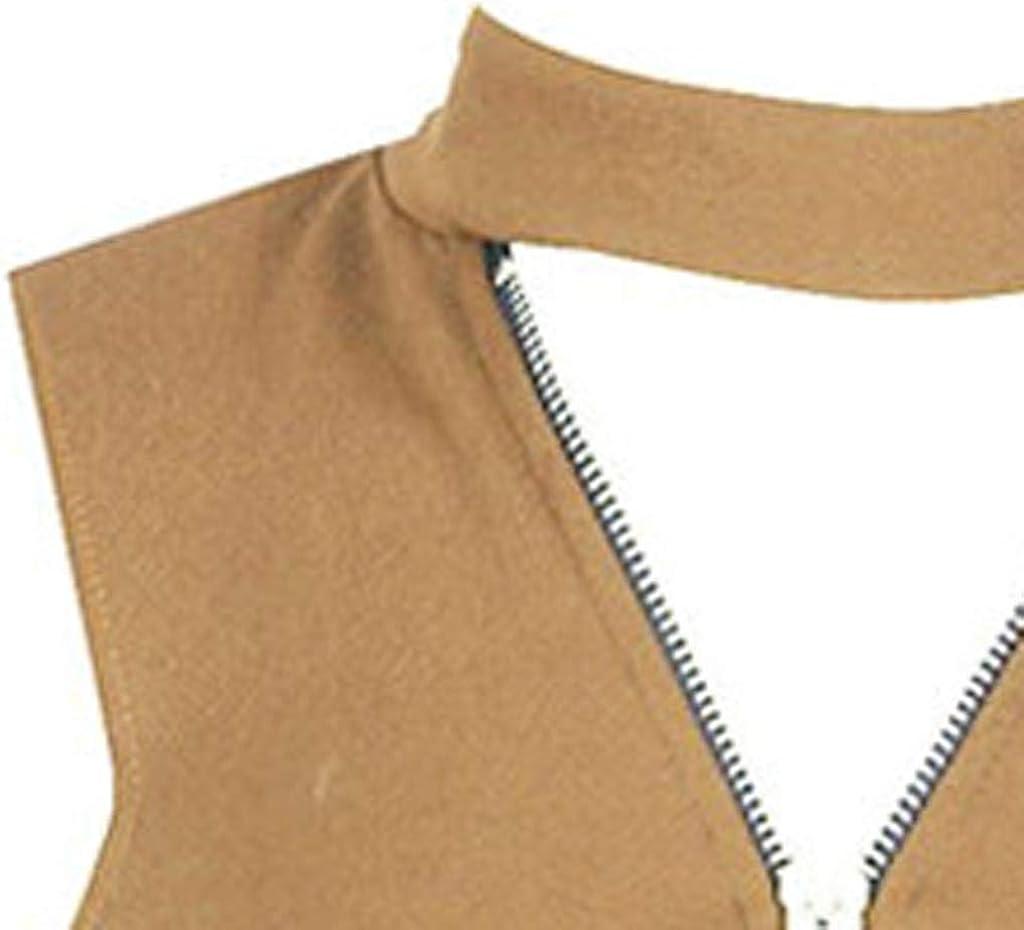 Womens Ladies Cold Cut Shoulder Golden Zip Up Choker High Neck Hi Lo Dip Hem Top