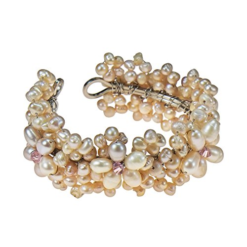 Refined Cultured Freshwater Pink Pearl Flower Embellishment Cuff Bracelet