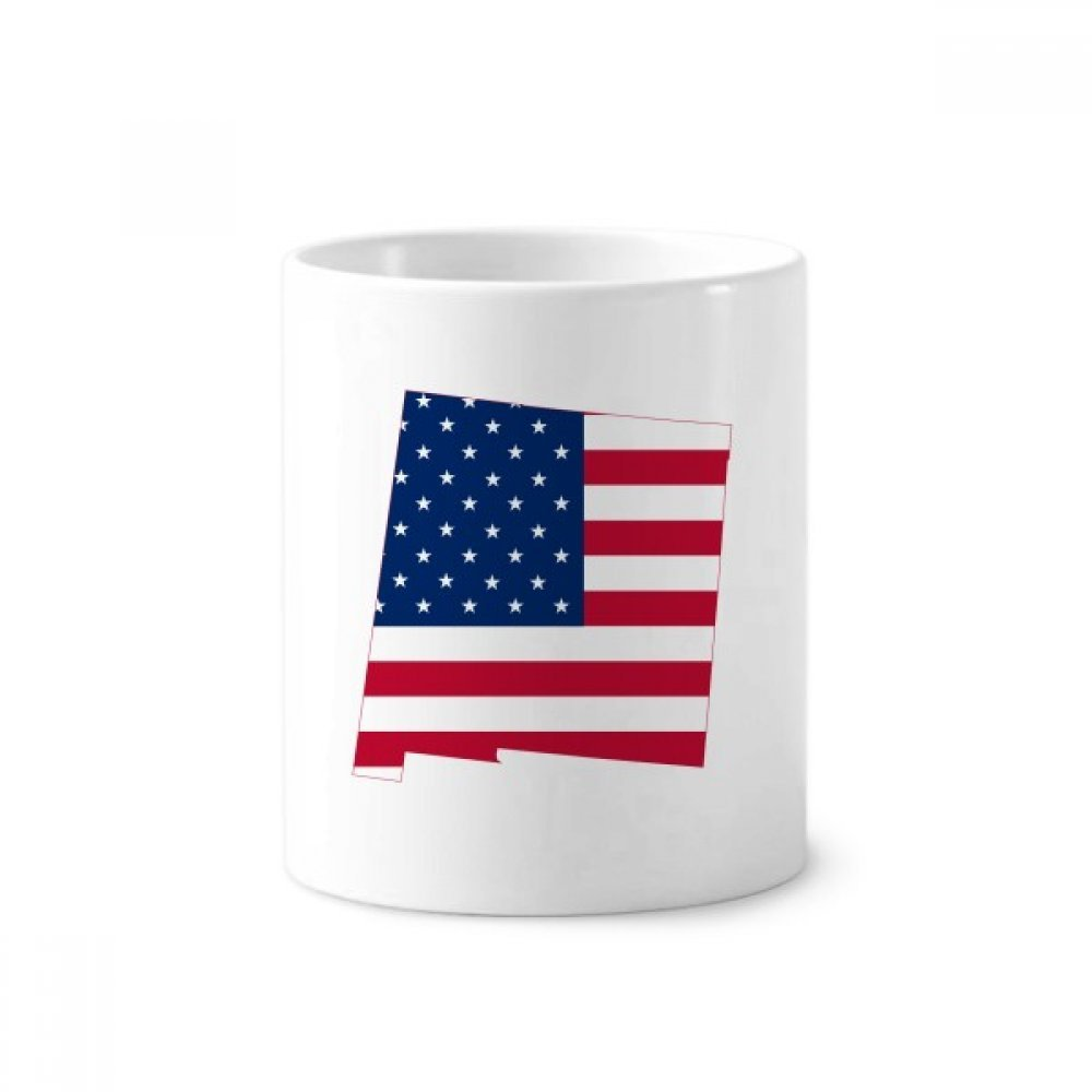 America Map Stars Stripes Flag Shape Toothbrush Pen Holder Mug White Ceramic Cup 12oz