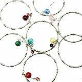 Joy Stone Handmade Silver Beads Gemstone Chain Bracelet Firefly Glow Aroma Diffuser Art Glass Charm with Oil Dropper