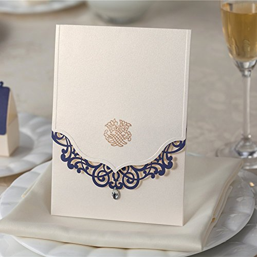 Wishmade 100X Blue Laser Cut Invitations Cards Kit For Wedding Engagement Party Birthday Bridal Shower Baby Shower by Wishmade
