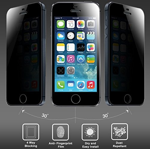 Josi Minea [iPhone SE / 5S / 5] Privacy Tempered Glass LCD Anti-Spy Screen Protector Film Screen Guard Premium HD Cover Shield for Apple iPhone SE / 5S / 5 / 5C (Best Privacy Screen Protector For Iphone 5s)