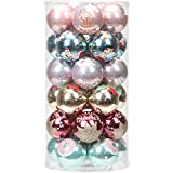 "Sea Team 60mm/2.36"" Delicate Contrast Color Theme Painting & Glittering Christmas Tree Pendants Decorative Hanging Christmas Baubles Balls Ornaments Set - 30 Pieces (Colorful)"