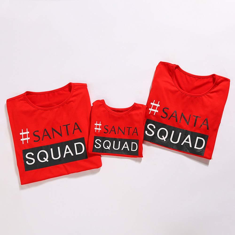 Amazon.com: Honwenle Round Neck Santa Squad Letters Pattern Prints Matching Family Christmas Pajamas Sets: Clothing