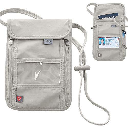 1 X RFID Travel Neck Pouch Passport Holder Premium Waterproof Neck Wallet Stash