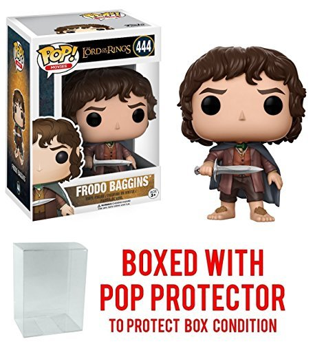 Funko Pop! Movies: The Lord of the Rings - Frodo Baggins #444 Vinyl Figure (Bundled with Pop BOX PROTECTOR CASE) Frodo Baggins Lord Of The Rings