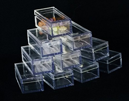 Rectangle Clear Acrylic Bead/Gem Boxes Package Of 50