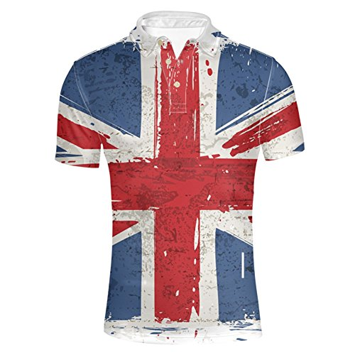 HUGS IDEA Men's Golf Poos Shirt Union Flag Printed Summer Fashion Collared Short Sleeve T-Shirt Tops Breathable