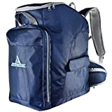 Athletrek Ski Boot Bag Backpack with Ergonomic Waist Straps for Flying Air Travel - Fits Ski or Snowboard Boots - Goggles Helmet Gloves Accessories - Durable Waterproof Exterior & Bottom