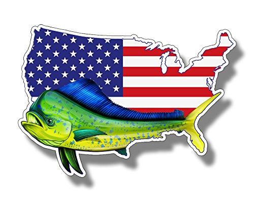 USA Mahi Dolphin Flag Sticker Vinyl Car Truck Laptop Boat Cup Die Cut Custom Printed Patriotic Decal