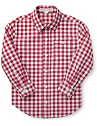 Boys' Gingham Woven Poplin Button Down Shirt Made with Organic Cotton