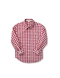 Hope & Henry Boys' Organic Red Gingham Woven Poplin Button Down Shirt