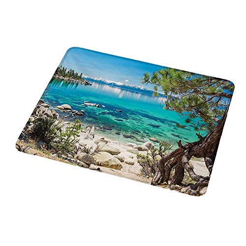 Personalized Custom Gaming Mouse Pad Nature,Lake Tahoe Snowy Mountain Reflection on Clear Water Rocky Shore View,Pale Blue Green Eggshell,Personalized Design Non-Slip Rubber Mouse pad 9.8