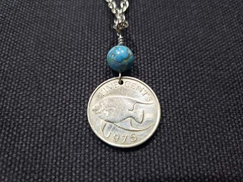 CoinageArt Bermuda Coin Jewelry -angelfish Coin Necklace 5 cents from Bermuda dated 1975 with blue Coral Stone on Brilliant Stainless Steel Chain 273