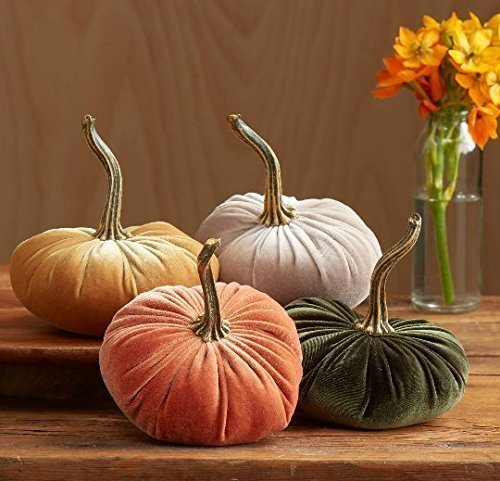 Velvet Pumpkins, SET of 4: Orange, Mustard, Taupe, Olive Green; Home Decor, Holiday Mantle Decor, Centerpiece, Fall, Halloween, Thanksgiving (Velvet Pumpkins)