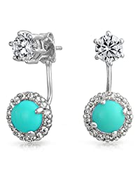 Enhanced Turquoise Clear CZ Stud Ear Jacket Front Back Earrings Rhodium Plated Brass