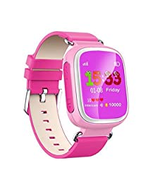 KOBWA Q80 Premium Colorful Smart Watch Multifunction Anti Lost Wear Phone Fashion Watch for Talented Children Healthy Material Waterproof Popular Phone Wristwatch (Pink)