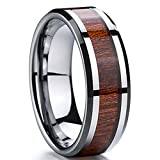 Men 8mm Silver Tungsten Carbide Wedding Engagement Ring Polished Beveled Edge Wood Inlay Band Comfort Fit Size 10.5