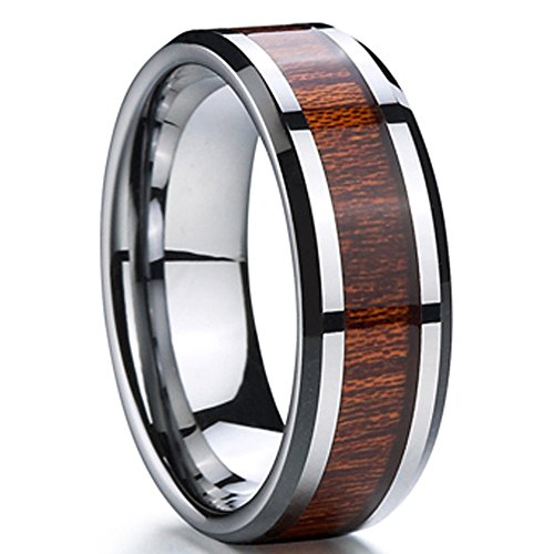 Men 8mm Silver Tungsten Carbide Wedding Engagement Ring Polished Beveled Edge Wood Inlay Band Comfort Fit Size 12.5 -