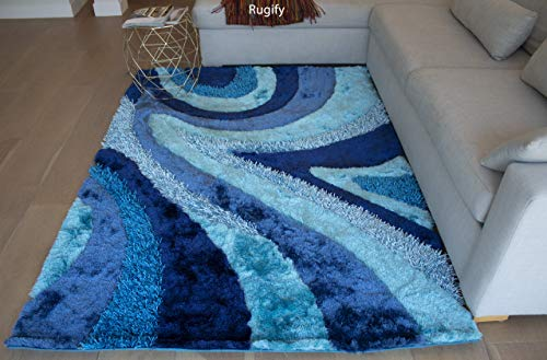 5'x7' Dark Blue Light Blue Turquoise Blue Shag Shaggy 3D Rug Carpet Striped Woven Braided Hand Knotted Feizy Accent Fluffy Fuzzy Modern Contemporary Medium Pile Shimmer - Signature New 70 Turquoise