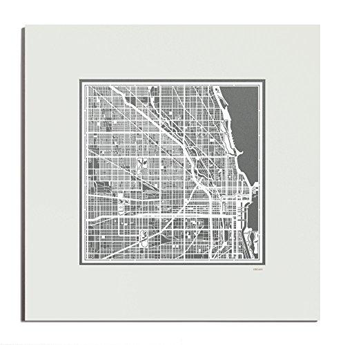 O3 Design Studio Chicago Paper Cut Map Matted Grey 20x20 In. Paper - Map Michigan Chicago Avenue