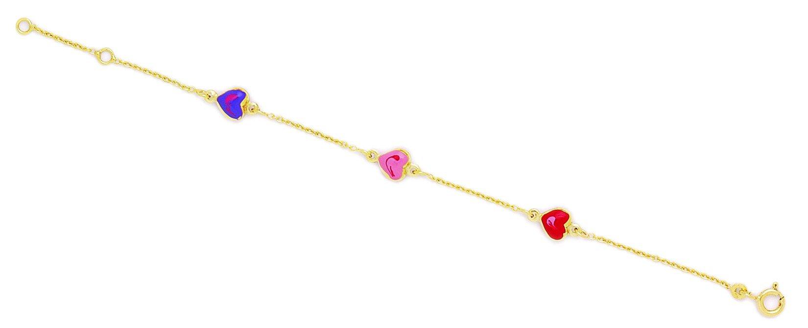 14k Yellow Gold 5.75 Inch Adjustable Three Hearts Enamel Baby Id Bracelet - Measures 6mm